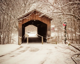 Old Covered Bridge lightly covered with snow photographic print