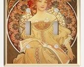 "Art Nouveau Alphonse Mucha ""Reverie""  Orange and Brown Double Toggle Light Switch Plate - Altered Art by Christina Fajardo"