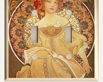 """Art Nouveau Alphonse Mucha """"Reverie""""  Orange and Brown Double Toggle Light Switch Plate - Altered Art by Christina Fajardo"""