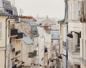 Paris Photography, Rooftops Photo, Paris Print, Neutral French Decor, White Wall Art, Paris Photo, 8x10 Print - Montmartre Mon Amour