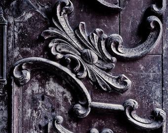 "Rustic Decor, Purple Door Photograph, Urban Wall Decor, Rustic Door, Urban Decay, Architectural Detail, Weathered Wood ""Purpura"""