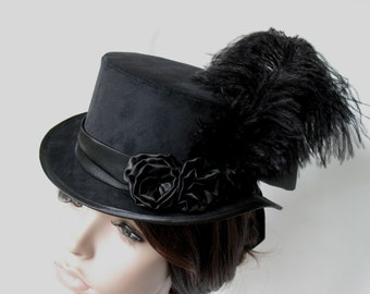 Ladies riding top hat black velours made to order goth neo victorian gothic