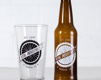 "CUSTOMIZED PINT & BOTTLE Combo- ""Spokes"" design on 8 pint glasses + 24 beer bottles"