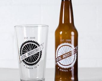 """CUSTOMIZED PINT & BOTTLE Combo- """"Spokes"""" design on 8 pint glasses + 24 beer bottles"""