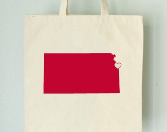 SALE Kansas LOVE Tote Kansas City RED state silhouette heart on natural bag