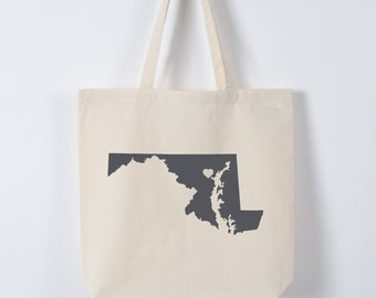 MARYLAND LOVE TOTE Baltimore charcoal state silhouette with heart on natural bag