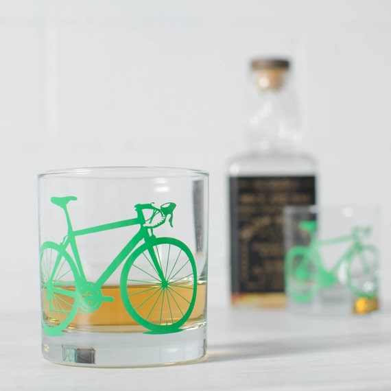 VITAL BIKE GLASSWARE screen printed bicycle glasses: rocks / old fashioned (or) pint size