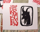 Classy Krampus alternative christmas card hand printed block print