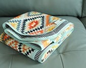 Baby Quilt grey aztec GEOMETRIC tribal PETUNIAS blanket crib nursery decor shower gift newborn photo prop hipster modern chevron gray