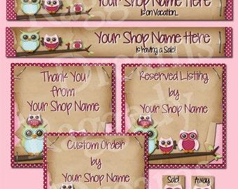 Etsy Banner Set - Premade Etsy Banner - Etsy Shop Banner - SHOP ICON - Shop Profile Photo - Cute Pink Owls - Raggedy Dreams Etsy Shop Design