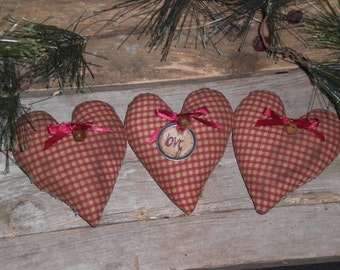 Set of 3 Primitive Country Rustic Valentine LOVE Hearts February 14 Red Burgundy Checkered Ornies Bowl Fillers Ornaments Tucks