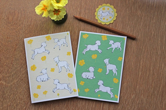 2 Notecards - Lambs at Play