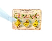 Vintage Easter Gift Tags , Chick Tags , Easter Chicks , Yellow Chicks , Blue Flowers , Pink Flowers , French Easter , Easter Basket Tags