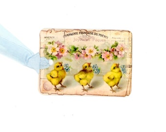 Gift tags vintage easter chicks in an egg vintage easter gift tags chick tags easter chicks yellow chicks blue flowers negle Choice Image