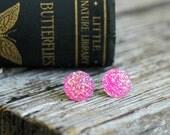 Hot Pink Druzy Earrings . Druzy Studs . Druzy Stud Earrings . Girlfriend Gift Best Friend Gift . Valentine Gift . Fake Gauges . Faux Plugs