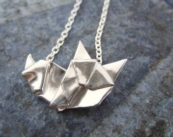 Hand Folded Silver Origami Cat Necklace