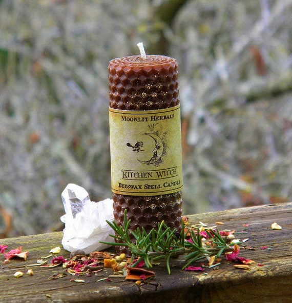 Kitchen Witch Rolled Beeswax Spell Candle - Blessings, Abundance, Purification, Offering to House Faeries, Creating Magick in the Kitchen