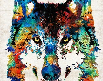 Colorful Wolf Animal Art PRINT from Painting Primary Colors Wolves Abstract  CANVAS Ready To Hang Large Artwork Big Rustic Wildlife Nature