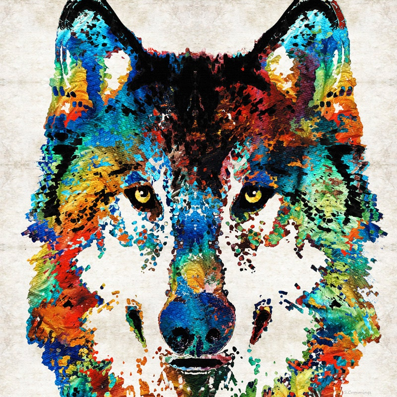 Colorful wolf animal art print from painting primary colors for Abstract animal paintings