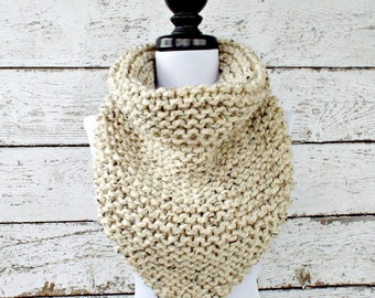 Knit Chunky Scarf Snood - Oversized Bandana Cowl Oatmeal Cowl Scarf - Oatmeal Bandana Oatmeal Scarf Womens Accessories