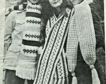 Scarf Knitting Patterns Scarf Crochet Pattern Patons 319 Women Vintage Paper Original NOT a PDF