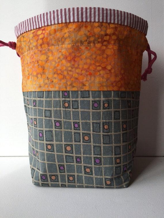 Knitting Pattern Small Drawstring Bag : Knitting Project Bag Drawstring Small