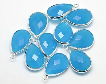 2 Faceted Glass Pendants, Capri Blue Tear Drop with a Smooth Silver Plated Bezel