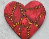 Mended Broken Heart Hand-Painted Embroidered Wooden Heart Original Contemporary Folk Art OOAK