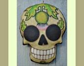 Thistle Skull Tattoo Ornament - Original Folk Art Skeleton- Printed and Stuffed Fabric