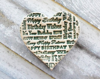 Happy Birthday Gift Heart, Ceramic Heart, Ring Dish, Spoon rest or Trinket Dish