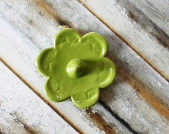 Gift Size Clay Ring Dish - Glazed in Chartreuse Green