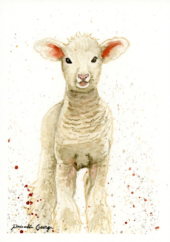 Lamb Watercolor Print Nursery Art Easter By Priscillageorgeart