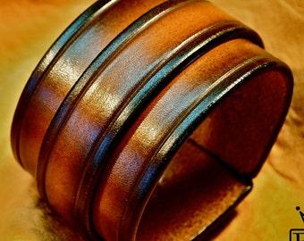 Leather cuff bracelet Sunburst vintage finish wristband Handmade for YOU in NYC by Freddie Matara