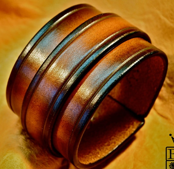 Leather cuff bracelet Sunburst vintage finish wristband Handmade for YOU in NYC by Freddie Matara