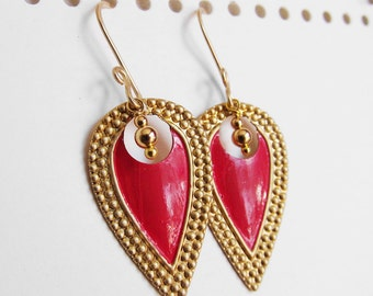Nouveau Antiquity - Petite Golden Brass Shields in Cerise Red