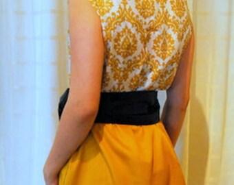 Georgie Shift Dress MEDIUM-LARGE art deco, ochre, dijon, shift dress, handmade, one of a kind, eco, upcycled, rework, vintage fabric, light