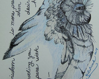 Mixed Media Illustration, Color Pencil Original Owl Drawing, Scripture Verse From Proverbs 8:11, Christain Art, Pen n ink, Religious, Bird