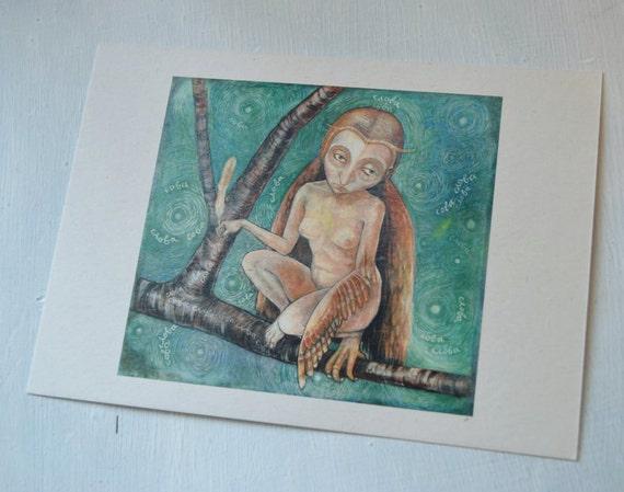 "Sova Slova - 7"" x 5"" print on cream card"