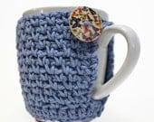 Crochet Coffee Cup Cozy Teacher Gift Coffee Cozy Novelty Blue Butterflies