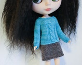Blythe doll Anna Sweater knitting PATTERN - cables short or long sleeve for Neo - instant download - permission to sell finished items