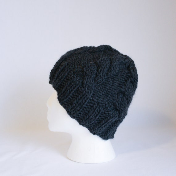 Bulky Cable Hat knitting PATTERN bulky knit cable stocking