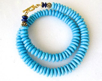 Genuine Sleeping Beauty Mine Arizona Turquoise Necklace with Lapis in 22kg Vermeil...