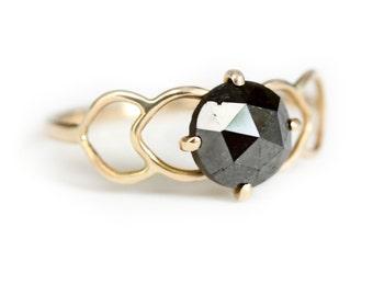 Rosecut Diamond Engagement Ring - Unique Engagement Ring - Diamond Solitaire - 14k Gold and Diamond Engagement Ring
