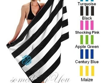 Personalized Cabana Stripe Beach Towel - EXTRA HIGH QUALITY, yarn dyed terry velour towel, Monogrammed Beach Towels, Bridesmaids Towels