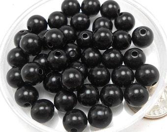 100 Black Acrylic Beads 8MM round (H1861)