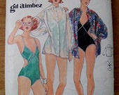 1970's Swim Suit and Cover up Pattern designed by Gil Aimbez - Vintage Butterick 5449