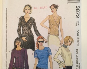 McCall's 3872 Pattern Pullover Top to Sew - sizes 4 thru 10