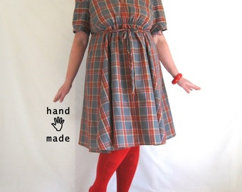 Plaid Persuasion Dress - plus size, size 22 / 2X, one of a kind, empire waist, fit and flare, steel grey, retro summer -- 49B-46W-70H