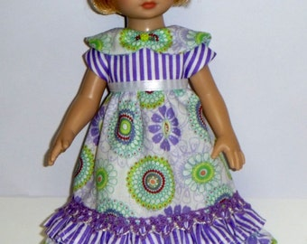 LilSassy Lavendar Green Fields  Dress And Matching Headband With Bow  For  10 Inch Tonner Patsy By TnTCreations