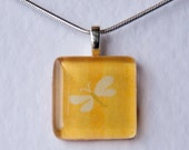 Handmade Glass Tile Yellow Butterfly Pendant